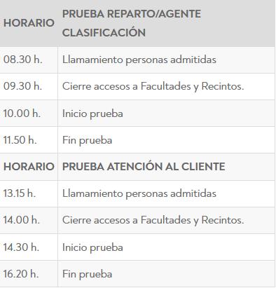 examen Correos horario